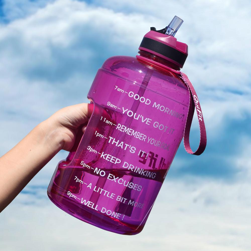 Gallon Water Bottle with Straw Clear Plastic Drinking Bottles - sportinglifes