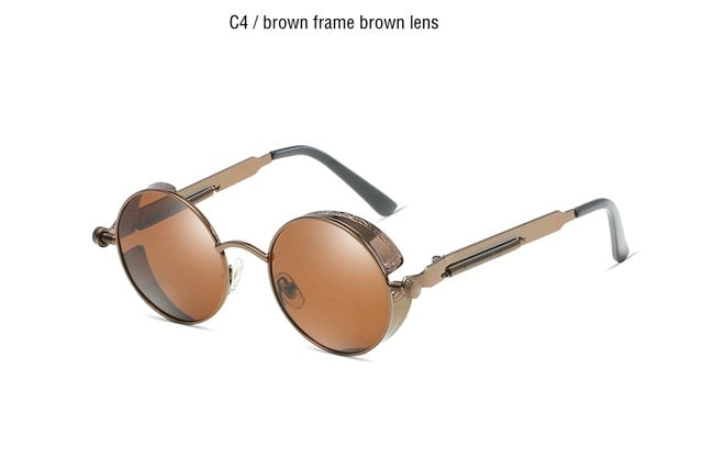 Classic Gothic Steampunk Sunglasses Polarized Men Women Brand Designer Vintage Round Metal Frame Sun Glasses High Quality UV400 - yingdanli.1