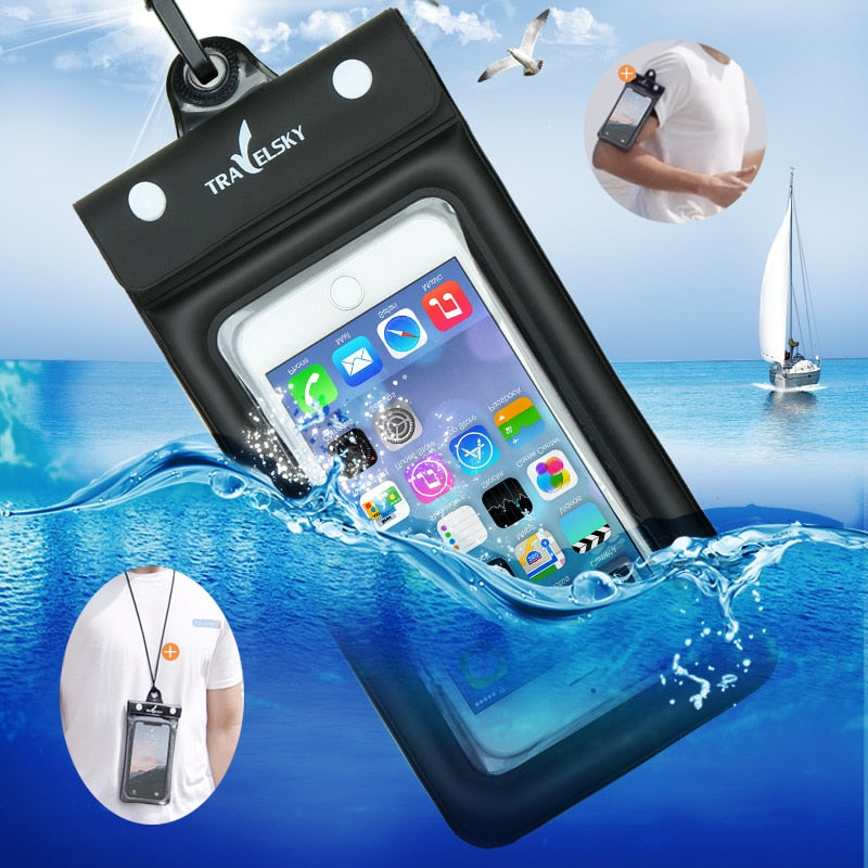 6.2 Inch Float Airbag Waterproof Swimming Bag Mobile Phone Case Cover Dry Pouch Universal Diving Drifting Riving Trekking Bags - yingdanli.1