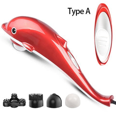4 in 1 Electric Dolphin Massager for neck massage with Vibration Infrared stick body massager hammer