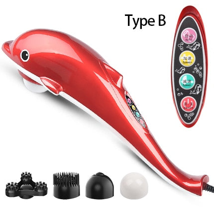 4 in 1 Electric Dolphin Massager for neck massage with Vibration Infrared stick body massager hammer - sportinglifes