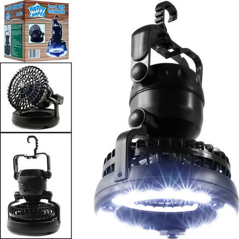 2 In 1 Portable LED Camping Lantern With  18 LED Flashlight Ceiling Fan For Outdoor Hiking Fishing - sportinglifes
