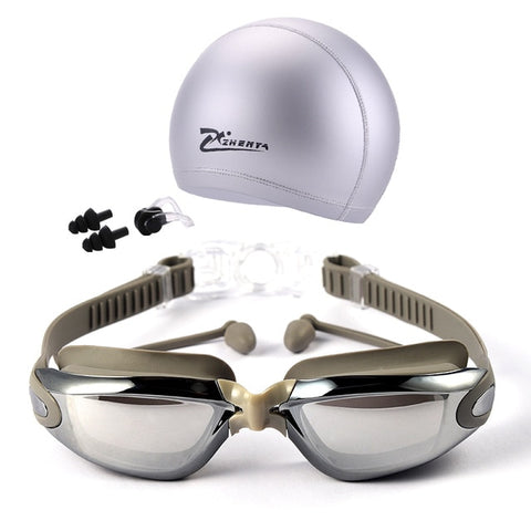 5 in 1 swim goggles set Anti Fog UV waterproof prescription glasses - sportinglifes