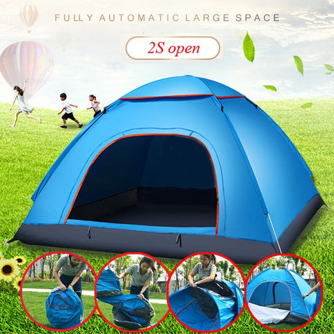 2-3 Person Portable Outdoor Foldable Tent Waterproof Automatic Instant Open Camping Hiking Fishing Travel Tent Anti UV Sun Shade - yingdanli.1