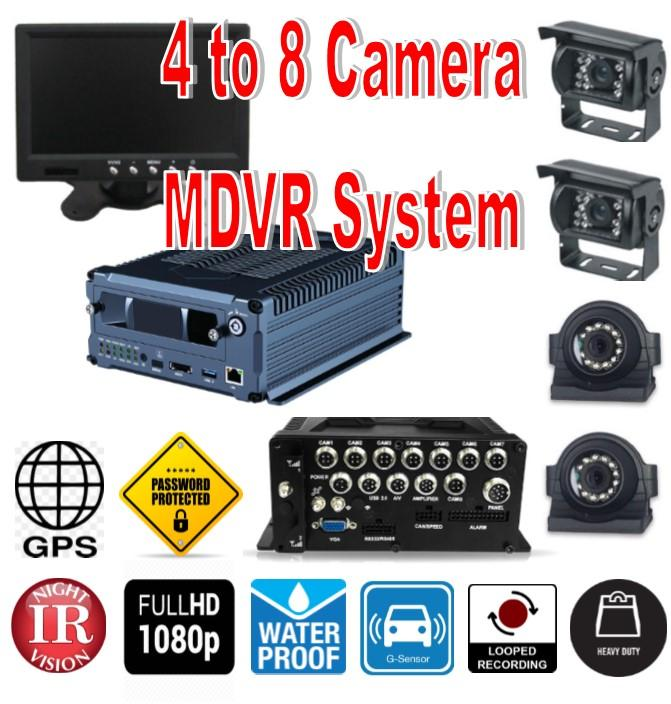 "MDVR 1080P 4-8 Camera DVR System with HDD Drive! Includes 4 Cams (can add up to 8), 7"" LCD, GPS & More"