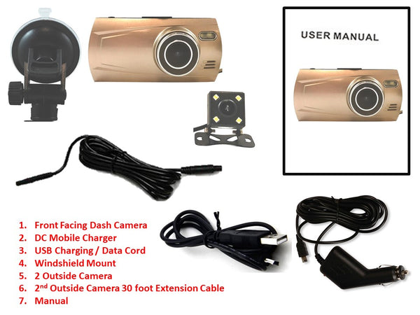 TD 3rd Gen Dual Camera 1080P Dash Cam - Record 2 Viewpoints at Once