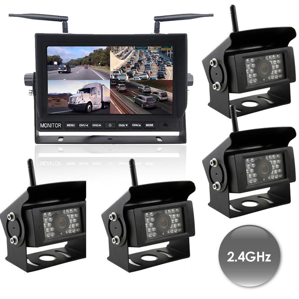 "Digital Wireless DVR  Dash Cam System! 2-4 Camera Options with 9"" LCD Quad Screen"