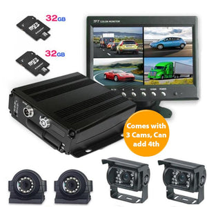 "MDVR 720P 3 Camera DVR System with 7"" LCD Monitor"