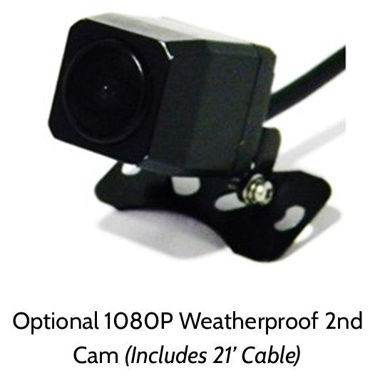 Additional 1080P Waterproof 2nd Cam for Pinnacle 4K WIFI GPS Dashcam