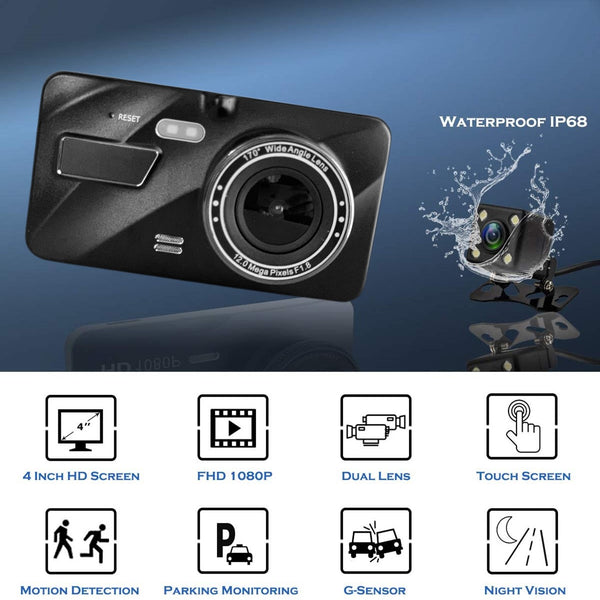 QUAD 2nd Gen Prime AHD Dash Cam with Touch Screen, Optional 2nd Camera