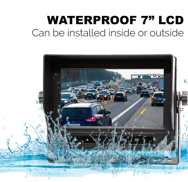 "Wired Heavy Duty Backup 720P Camera with Waterproof 7"" LCD! 100% Waterproof Backup Cam System!"