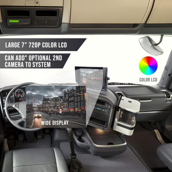 "Wired Heavy Duty 720P Backup Camera System with 7"" LCD! Optional 2nd Cam Available!"