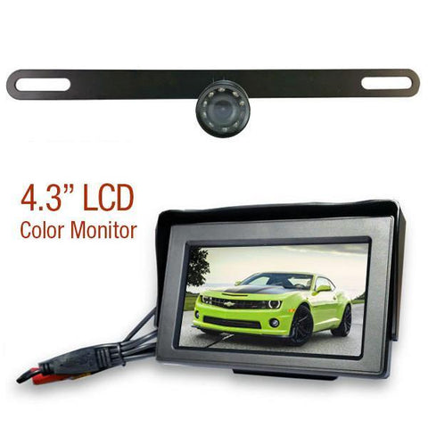 "WIRED License Plate Backup Camera! 30' Cable with 4.3"" LCD Monitor"