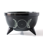 Triple Moon Carved Black Soapstone Bowl ~ Smudge Pot