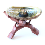 Abalone Shell & Wooden Tripod Cobra Stand ~ Incense & Charcoal Burner ~ Smudge