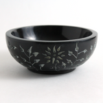 Soapstone Smudge Pot ~ Black Floral Carved Design