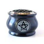 Black Carved Soapstone Charcoal Burner w/Screen ~ Pentacle Design