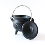 Cast Iron Cauldron w/Handle & Lid ~ Pentacle Design