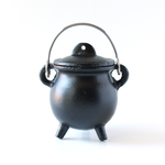 Cast Iron Pot Belly Cauldron w/Handle & Lid