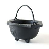 Cast Iron Cauldron w/Handle ~ Pentagram Design