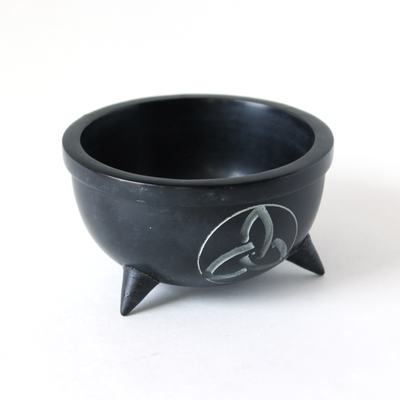 Triquetra Carved Black Soapstone Bowl ~ Smudge Pot