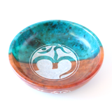 Om Colored Soapstone Bowl ~ Smudge pot ~ Charcoal & Incense Burner