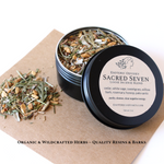 Sacred Seven Loose Incense Blend ~ 1 oz. ~ Black Screw Top Tin