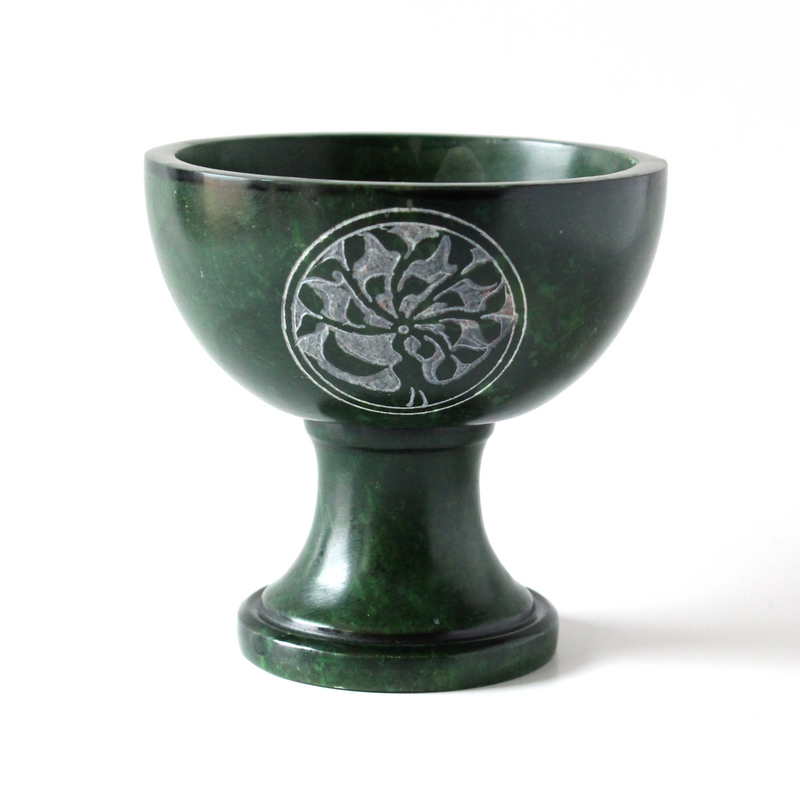 Tree of Life Carved Footed Soapstone Burner ~ Green ~ Smudge Pot