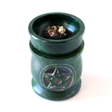 Soapstone Carved Green Pentacle Incense/Resin/Oil Burner - Tea Candle Burner