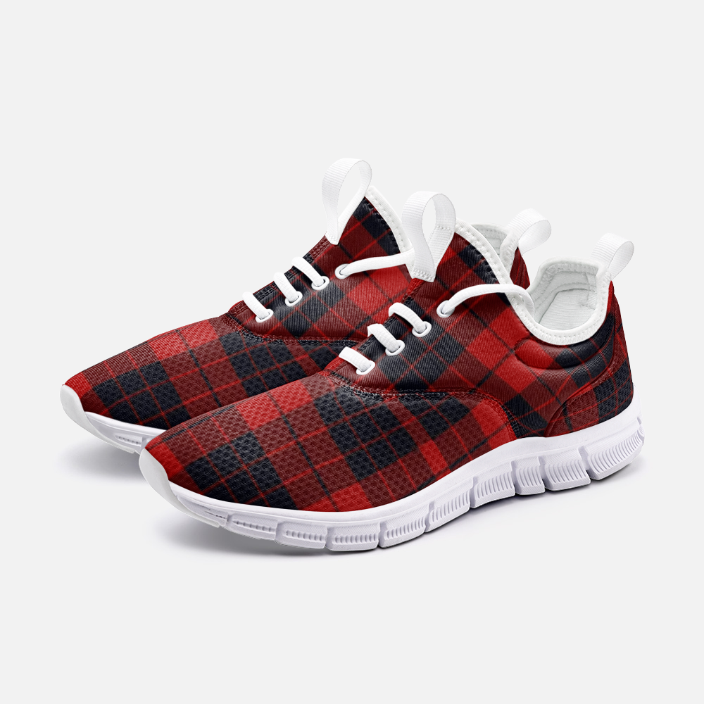 Red and black plaid Sneaker City Runner - BIZARRE FASHIONS