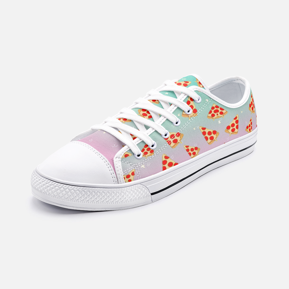 Pastel Rainbow Pizza Shoes | Pastel Sneakers | Pizza Gifts | Low Top Converse Style Sneakers For Women & Men - BIZARRE FASHIONS