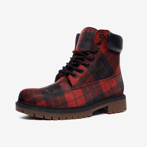 Red and black plaid Lightweight boots - BIZARRE FASHIONS
