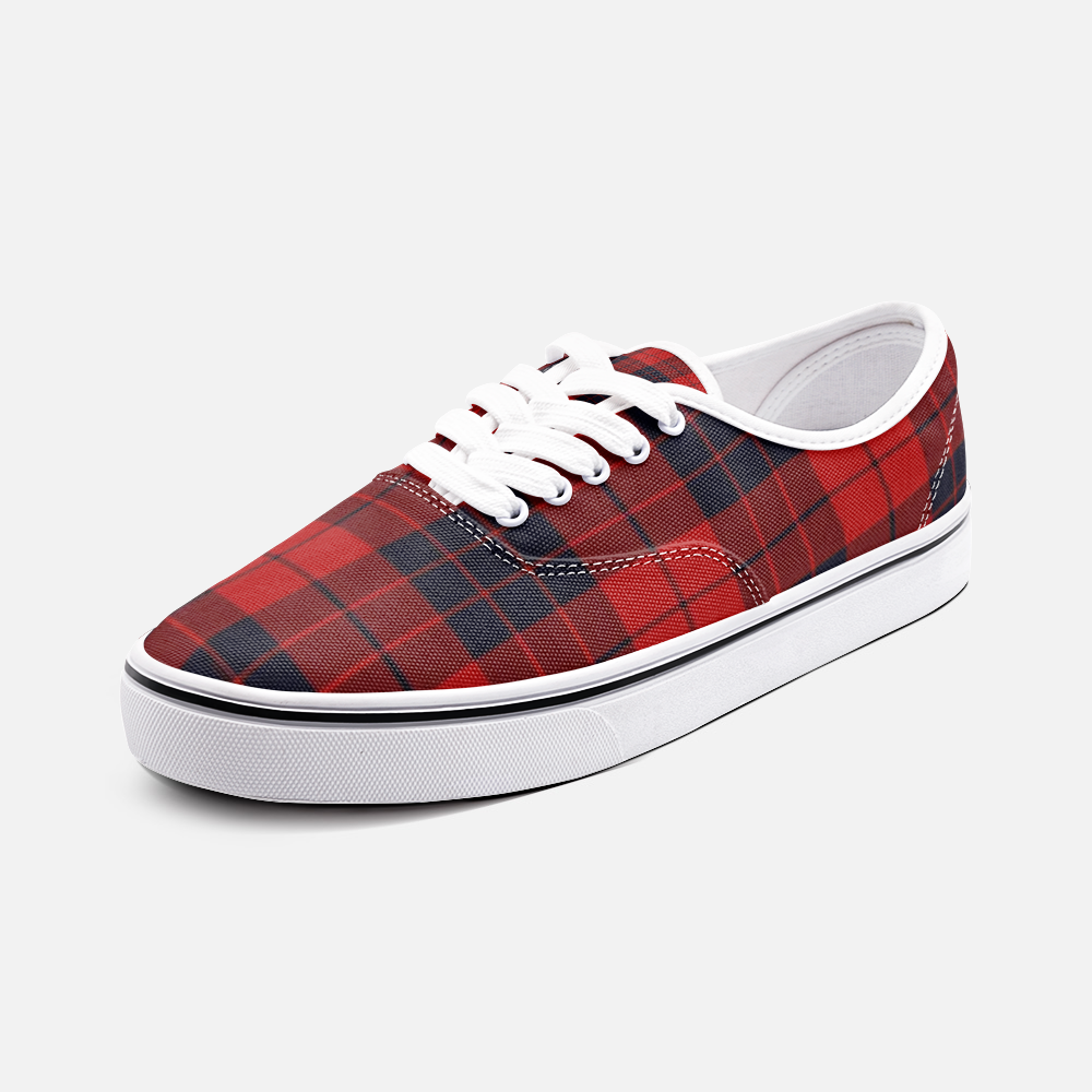 Red and black plaid Loafer Sneakers - BIZARRE FASHIONS