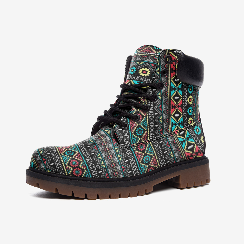 Tribal Boho Leather boots, Tribal Pattern - BIZARRE FASHIONS