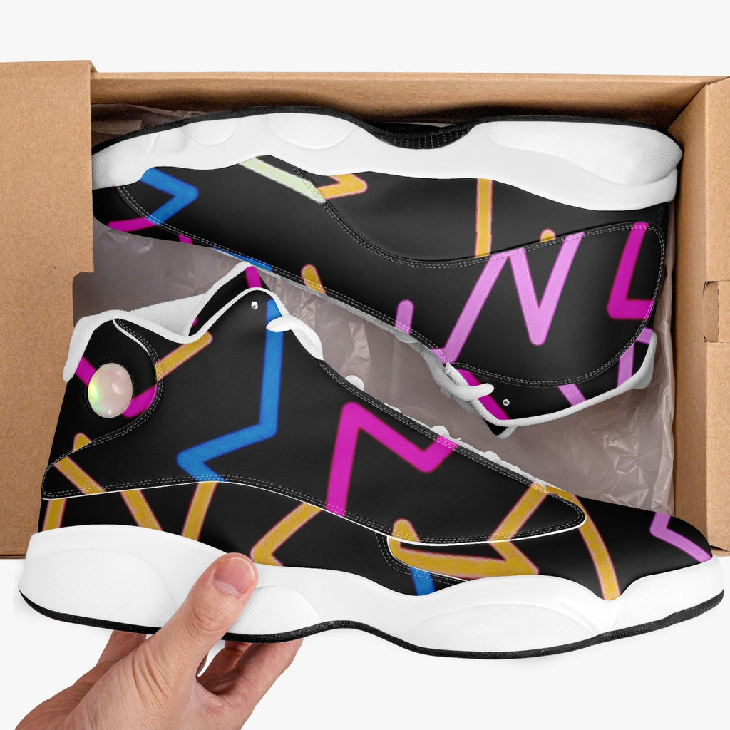 Geometric colorful lines Basketball Sneakers - BIZARRE FASHIONS