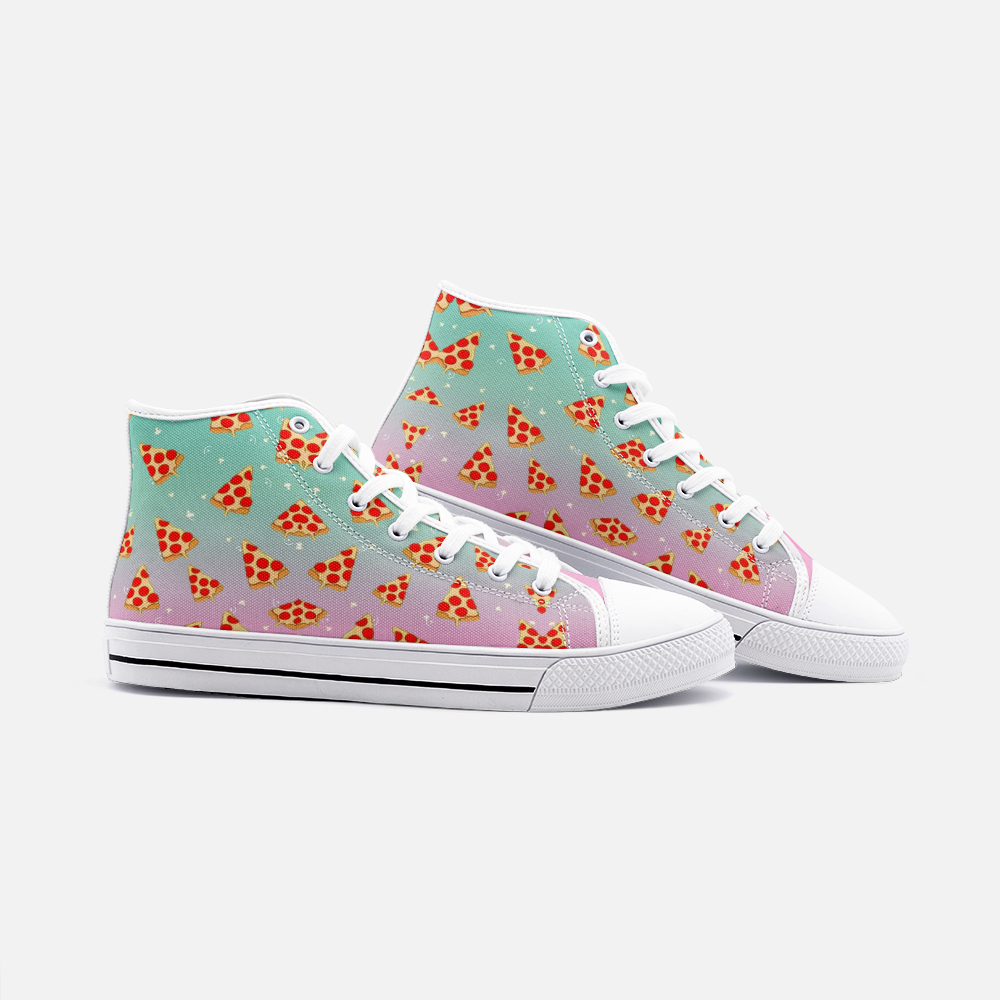 Pastel Rainbow Pizza Shoes | Pastel Sneakers | Pizza Gifts | High Top Converse Style Sneakers For Women & Men - BIZARRE FASHIONS
