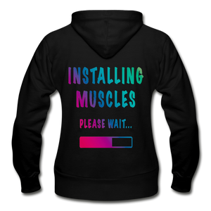 Installing muscles bodybuilding muscle funny Women's Zip Hoodie - BIZARRE FASHIONS