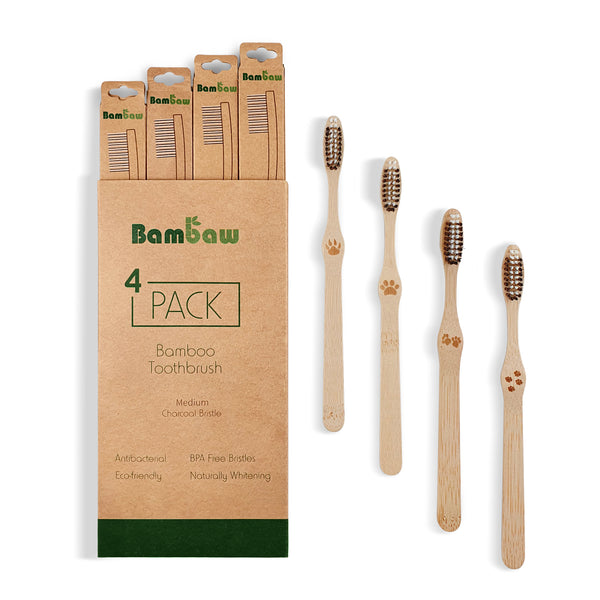 Brosse à dents en bambou par lot de 4 - Bambaw