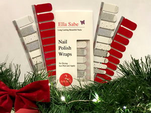 Nail Wraps - Winter White and Silver and Classic Red