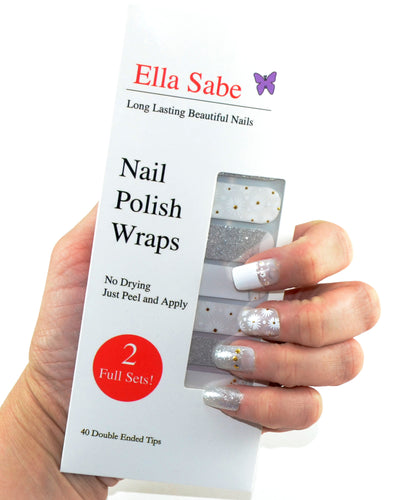 Winter Sparkle - Silver and White Nail Wraps with Sparkle