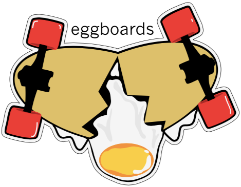 Eggboards Sticker Street Red Colored Wheels Cracked Egg