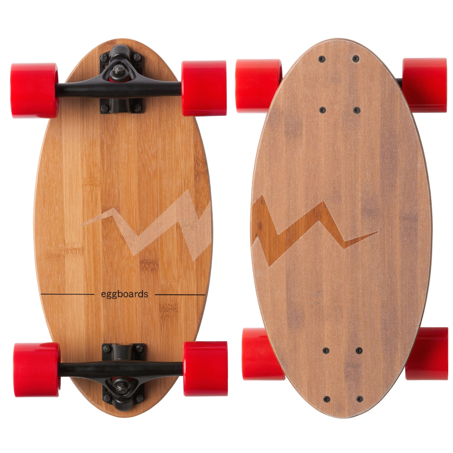Eggboards Mini Bamboo Longboard Skateboard with Clear Griptape and Red Wheels