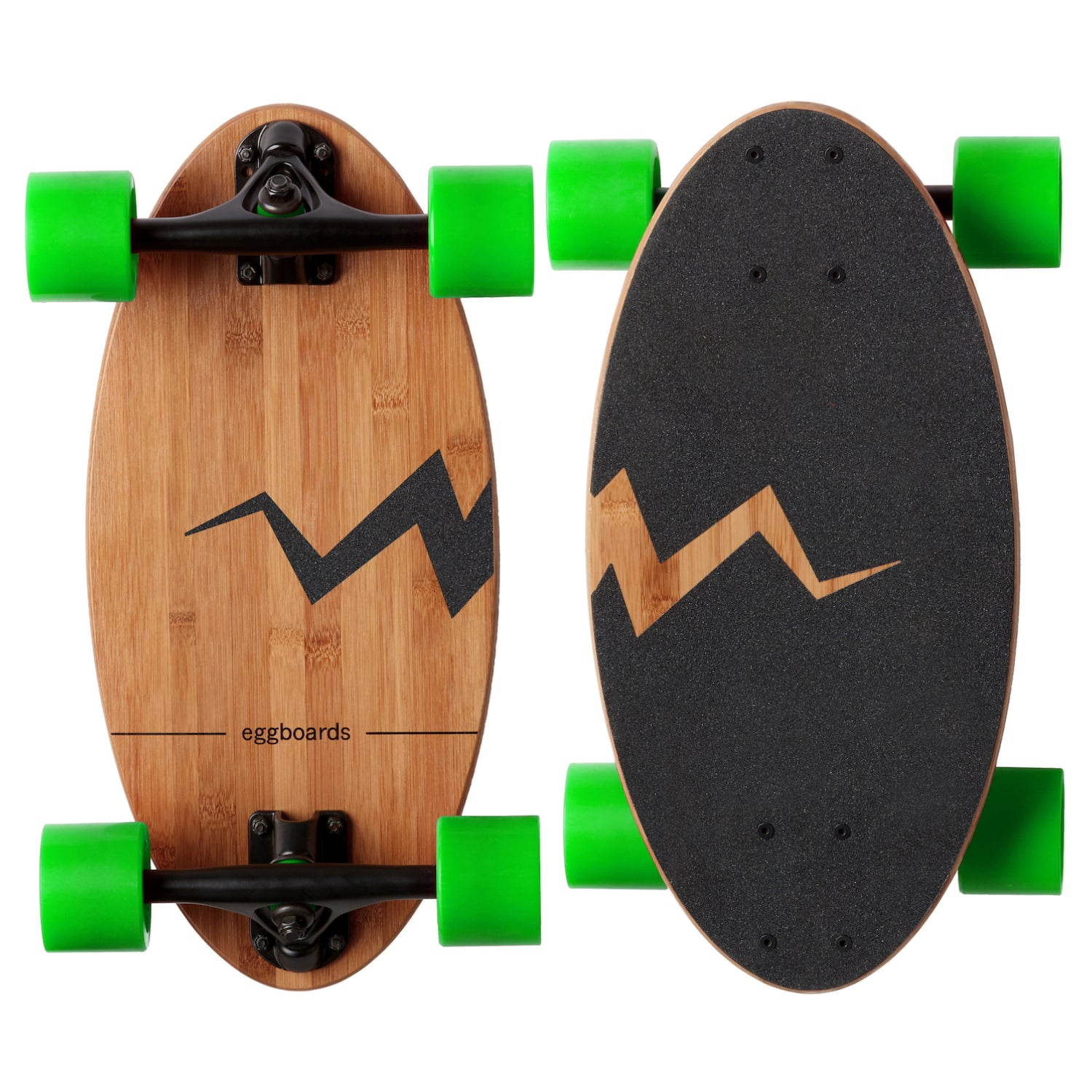 Eggboards Small Longboard Skateboard with Green Wheels and cracked egg griptape design