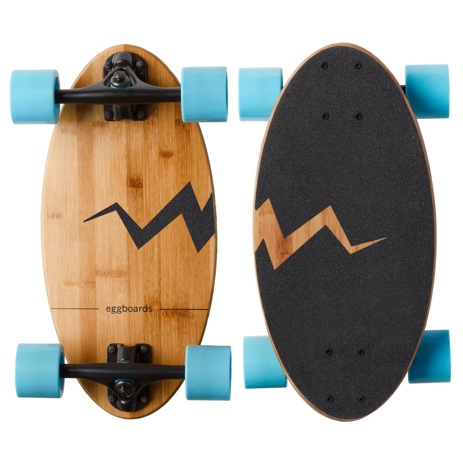 Eggboards Mini Cruiser Board in Bamboo With Blue Wheels