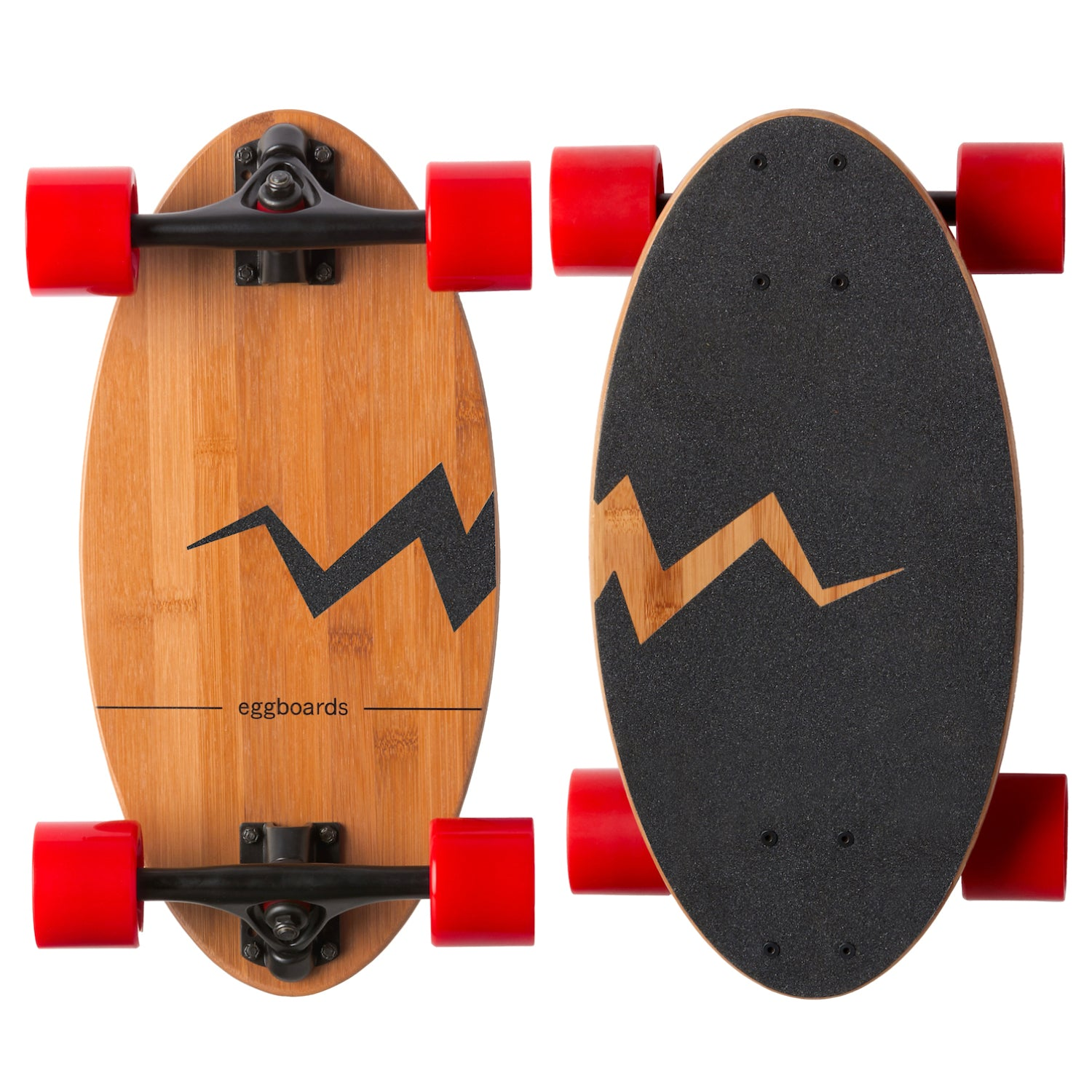 Eggboards Mini Cruiser Longboard Bamboo Skateboard Red Wheels