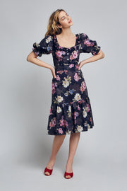 Dark Navy Floral Cotton