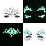 Face Gems Luminous Temporary Tattoo Stickers Acrylic Crystal Glitter Stickers Waterproof Face Jewels