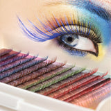 8~13mm 12 Rows/tray 5 Colors Mink Hair False Eyelashes Extension Colorful