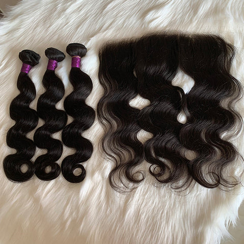 9A Body Wave Bundles with A HD Frontal