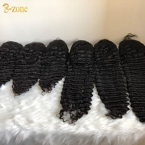 Deep wave lace front wig natural color